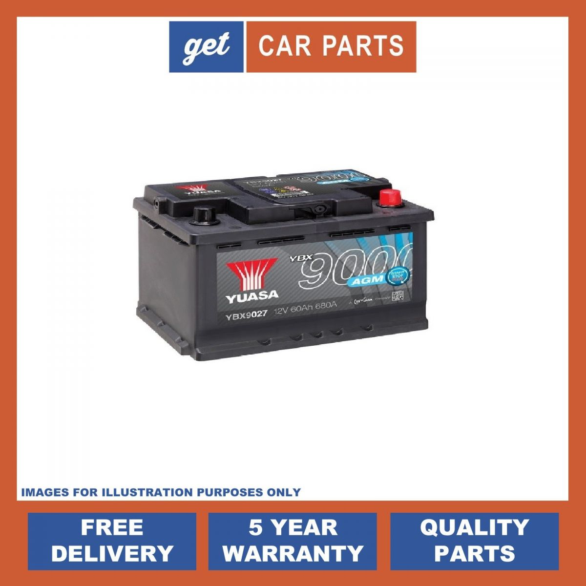 Car Battery For Audi A3: AUDI A1 & A3 Yuasa YBX9027 AGM Start Stop Plus Battery.